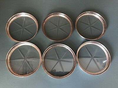 Vintage Sterling And Glass Coasters 6