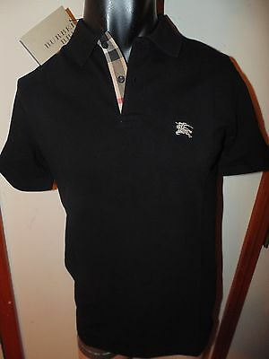 Burberry Brit men's black  short sleeve nova check placket polo shirt s m l xl