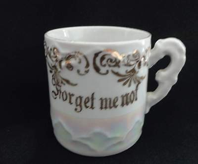 Antique Victorian Child's Mug - Forget Me Not - Lusterware - Germany