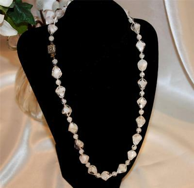 Vtg Beautiful White & Clear ART GLASS Necklace W/ Box Clasp