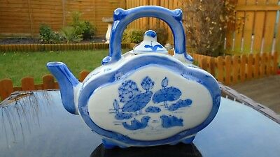 Vintage Hand Painted Chinese Blue & White Ware Decorative China Tea Pot