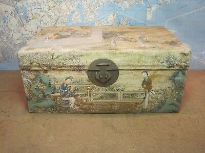 Antique Chinese Wedding BridesTrunk Hand Painted Pig Skin Covered Asian Chest