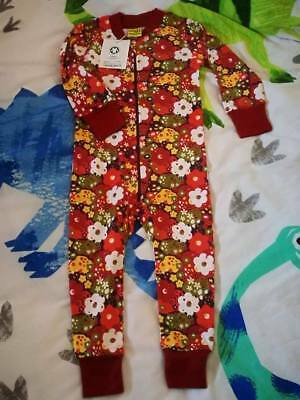Red Flower Zip Suit Organic Clothing BNWT Reduced Price 92cm