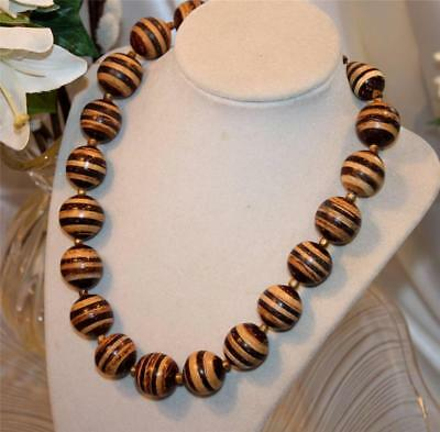 Vtg Fun & Fabulous Striped Brown Big Bead Wooden Necklace