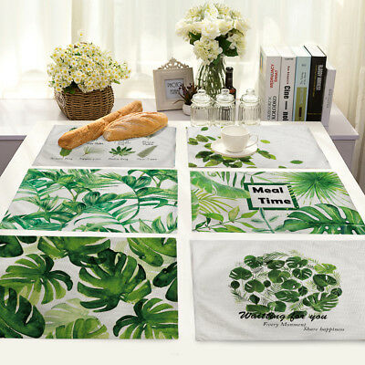 Placemats Cotton Linen Dining Room Leaves Table Mat Heat Insulation Pad Kitchen