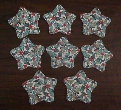 8 Matching Longaberger Star Shaped Coasters From Homestead Holly Berry Pattern