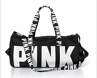 Victoria's Secret Love Pink Duffel / Gym Bag - Grey Canvas Travel Luggage Bag