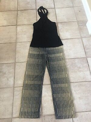 EUC Vivienne Tam Pea In The Pod Maternity Pants Gold Black Top Sparkle 1 S Xmas