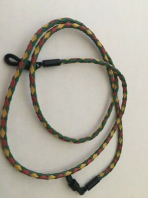 Braided Leather Eyeglass Sunglass Hanging Cord Red Green & Yellow Leather String