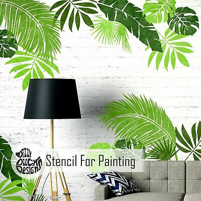 JUNGLE LEAF Set of 6 Plant Tropical Wall Floor Furniture Stencils for Paint
