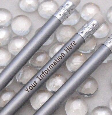 24 - Custom PERSONALIZED Regular Pencils - SILVER METALLIC