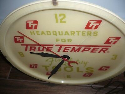 Vintage True Temper Tools Electric Advertising Clock - works  free  shipping