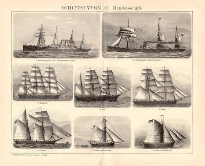 MERCHANT SHIPS SAILING SHIP STEAMER SHIP Engraving 1898 old historical print