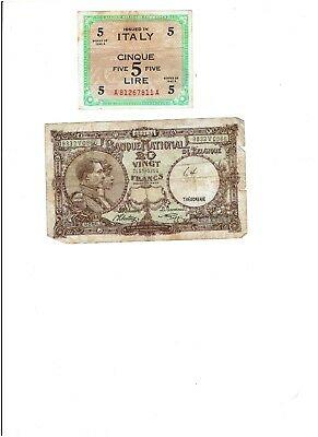 ITALY 5 Lire allied military currency 1943, Belgium 20 Vingt Francs