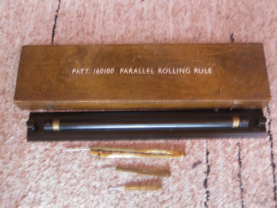 Antique Vintage Brass Harling Parallel Rolling Rule WWII BRITISH NAVY