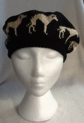 GREYHOUND / WHIPPET FAWN  dog NEW knitted BLACK BERET  adult size hat