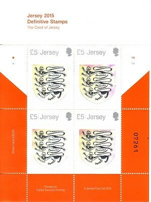 2015 Jersey 'The Crest of Jersey' Four  Hologram Stamp Sheet MNH
