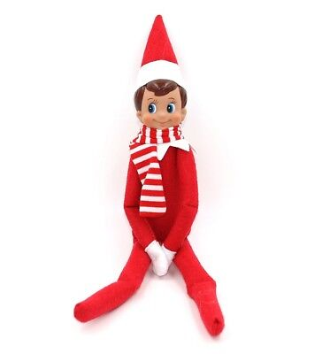 Kids Girls Elf on the shelf Christmas Plush Dolls Toy  Red Boy Figure with scarf