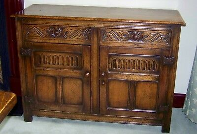 Beautiful Priory Style / Old Charm Carved Oak Sideboard, Vintage