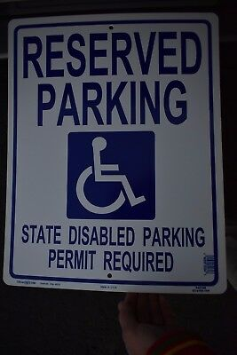 """LARGE 19 x 15"""" RESERVED DISABLED HANDICAP PERMIT REQUIRED PARKING SIGN USA Made"""