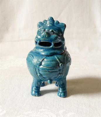Antique 19Th C Chinese Turquoise Pottery Incense Burner Or Censer As Dog Of Fu