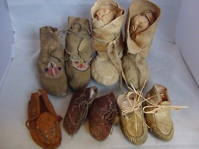 Antique Native American Indian Child Baby Moccasins Leather Shoes Boots MIx Lot