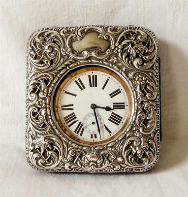 Embossed Edwardian Silver Goliath Watch Case Chester 1902 With Original Watch