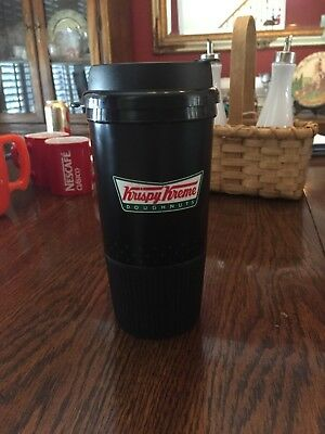 "KRISPY KREME Doughnuts insulated COFFEE CUP Travel Mug Plastic 16 oz / 7"" Tall"