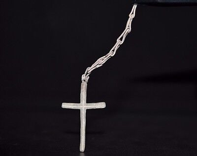 Ancient Viking Silver CROSS Amulet. Norse Pendant on Chain, c 950-1000 AD. Mint