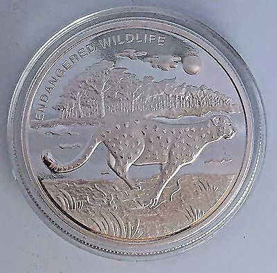 Congo Democratic Republic 10 Francs 2007-Endangered Wildlife-Cheetah-40Mm Silver