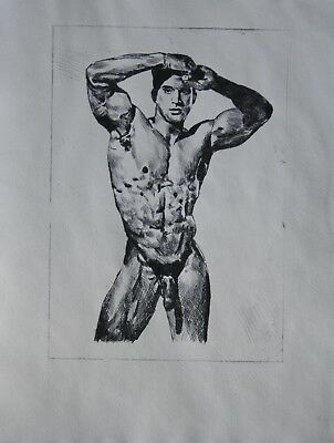 "CLASSIC MALE NUDE 1. Gay interest ETCHING. RCA artist  8"" x 11"" size by Neil 3/5"