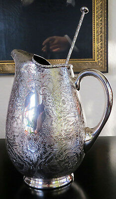 Antique Barker Ellis Silver Plate Etched Ice Water Wine Barware Pitcher Jug
