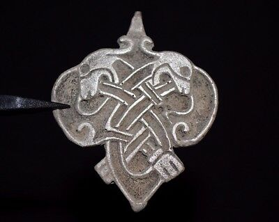 Ancient Viking Silver Amulet. Two Beasts in Norse Eternity Knot, c 950-1000 AD.