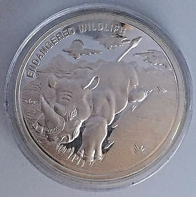 Congo Democratic Republic 10 Francs 2007-Endangered Wildlife- Rhino -40Mm Silver