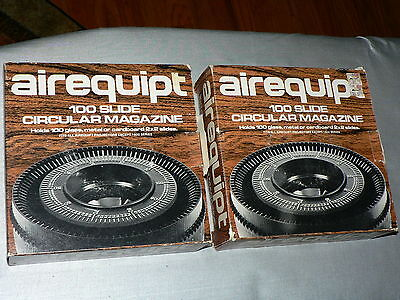 Lot of 2 Vtg AIREQUIPT Circular Carousel Magazines Each Mag Holds 100 2x2 Slides