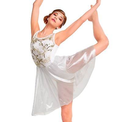 Crystal Illusion Angelic White Ice Lyrical Ballet Contemporary Dance Dress CL