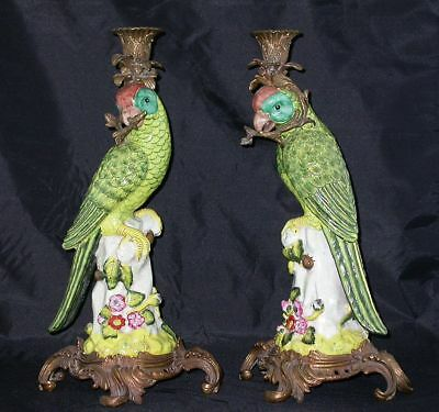 Antique Pair French Faience PARROTS Candleholders