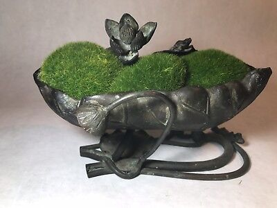 Antique Bronze Japanese Ikebana Lotus Bowl Tray Sculpture w/ Frog Lily