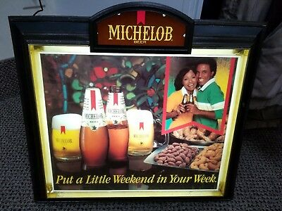 Michelob Beer Lighted Black Americana Advertising Sign