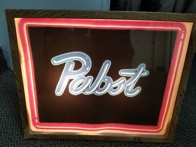Pabst Blue Ribbon Plastic Lighted Beer Sign