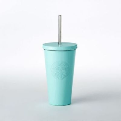 New STARBUCKS Matte Aqua Tiffany Blue Stainless Steel Cold Cup 16oz