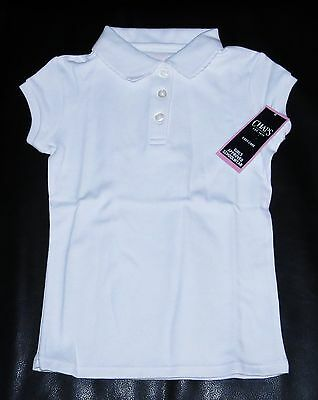WHITE Polo Girls 5 CHAPS Easy Care School Shirt NEW Uniform Top NWT Medium M (5)