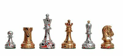 "Dubrovnik Artisan Chess Set - Pieces Only - 3.75"" King - Gold and Silver Hand Pa"