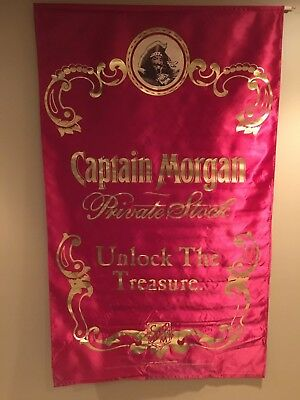 "Captain Morgan Private Stock Maroon & Gold Satin Banner 58""x36"""