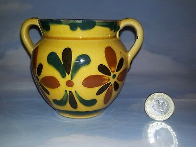 Two handled vase with motto 'Life has many shadows.' Devon Aller Vale motto ware