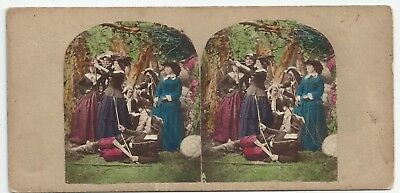 Stereoview (The Royal Knicker Bocker Archers) Sports Crinoline London 1850er