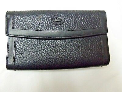 Dooney Bourke Black Leather Vintage AWL Checkbook Wallet with kisslock