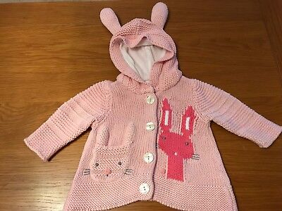 Baby Girl Cardigan Next Pink Bunnies 3-6 Months