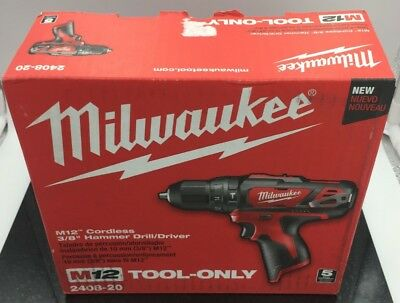 "Milwaukee M12 3/8"" Cordless Hammer Drill/Driver 2408-20 TOOL ONLY (SPG025389)"