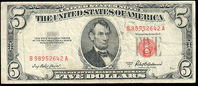 1953-A Series $5 United States Note Fr. 1533 VF B 98952642 A